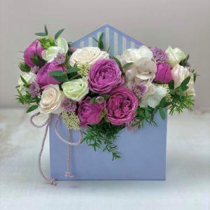 """Цветы в коробке """"конвертик"""" Art.12 025"""