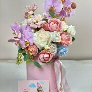 Сборная коробка с орхидеей art.80-53